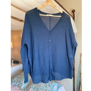 Navy boutique sweater, button up